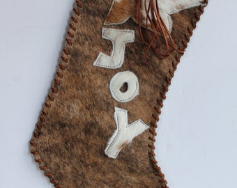 Cowhide Christmas Stocking large size