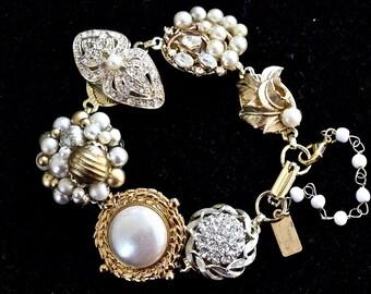 Rhinestone and Pearl Wedding Bracelet, Vintage Earring Bracelet, Gift for Her, Bridesmaid gift set Gold White, Jennifer Jones OOAK Heirloom