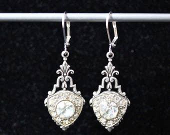 Vintage Rhinestone Earrings, Upcycled Button Assemblage, Reauleaux Triangles Unique Art Deco Gatsby 1920s silver, Jennifer Jones OOAK