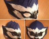 Blue Jay - handmade leather mask