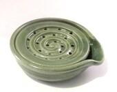 Soap Dish - Handmade Pottery - Green Soap Dish - Drain Tray - One Piece - Soap Saver - Pottersong - Kitchen or Bath - Bright Green