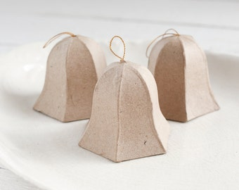 Paper Mache Bells - Vintage Style Bell Ornaments, Set of 3