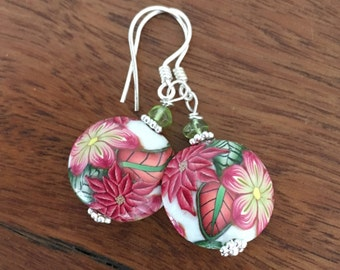 Polymer Clay Floral Peridot Earrings Tropical Earrings Hawaiian Earrings Flower Earrings