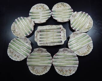 Set of 8 English Antique Asparagus Plates in Majolica by WA Adderley 1800s ++NOW with SERVER++