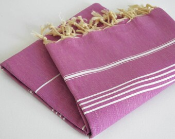 SALE 50 OFF/ Turkish Beach Bath Towel / Classic Peshtemal / Fuchsia Color / Wedding Gift, Spa, Swim, Pool Towels and Pareo
