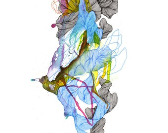 Element LVIII- Giclee print / organic / contemporary art / abstract painting/ drawing / tendril of water / coil / air / elemental /