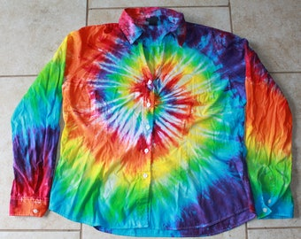Tie Dye Ladie's GAP Button Up Shirt   Size XL upcycled