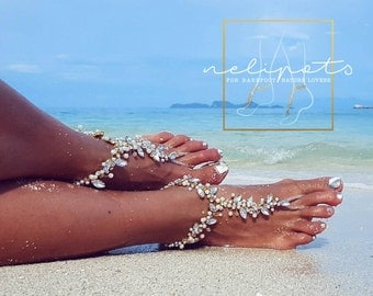 Beach Wedding, Barefoot Sandals, Bridal Beaded Anklet, Boho Slave Ankle Bracelet, Pearl Feet Jewelry, Bridal Party Gift Bridesmaid /FIFI/