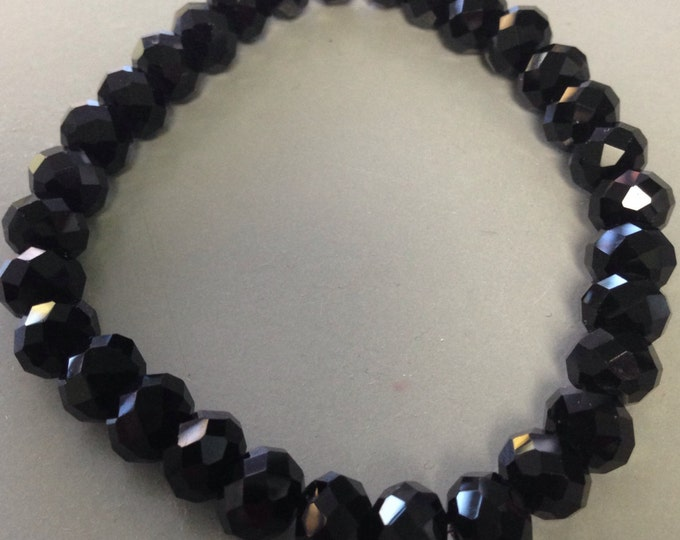 "Black Crystal ""Black Diamond"" Faceted Glass Bead Stretch Bracelet with Sterling Silver Accent"