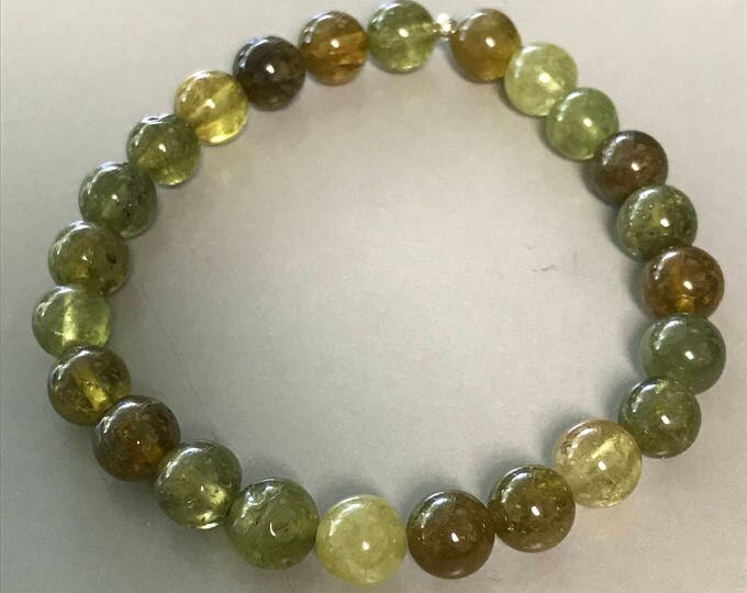 Grossular Green Garnet 8mm Round Stretch Bead Bracelet with Sterling Silver Accent