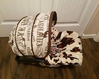 Baby Boy Cowboy and cow minky baby car seat cover- Infant boy cover, baby boy seat cover, western themed baby seat cover - Made to order