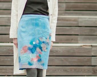 Formal Skirt, Everyday skirt, Pencil Skirt, Fashion skirt, Pale blue skirt, womans skirt, Midi skirt, Nuno Felted skirt