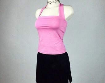 90's Pastel Pink Tie Back Halter Top // S - M