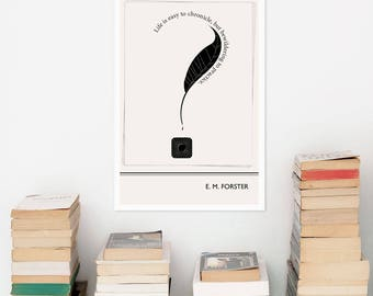 EM Forster Poster, Minimalist Literary Art Print, Bookworm Gift for Writer