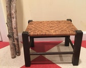 Vintage Mission Style Arts and Crafts Rattan Foot Stool Foot Rest