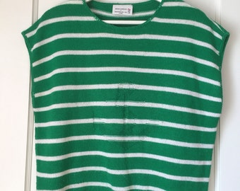 Green & White Striped Short Sleeve Anchor Sweater