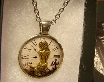 Small Mermaid over Clock Steampunk Pendant Necklace (2409)