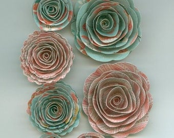 Light Blue and Pinkish Patterned  Handmade Spiral Rose Paper Flowers Valentine, Girly