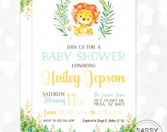 Lion Boy Baby Shower Invitation Baby Boy Invite Watercolor Lion Baby Shower Invite Tropical Floral DIY Printable Invite PDF Baby Lion