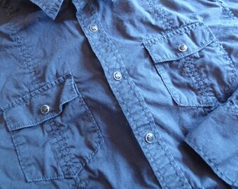 Black Vintage Cowboy/Cowgirl Shirt with Snaps . Women's Large . Men's Medium