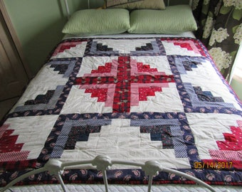LOG CABIN QUILT One of a Kind Wall Hanging Table Runner or Topper from Darlas Closet