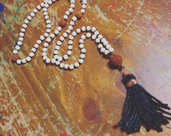 Mala Bead Necklace White Wood and Rudraksha seed Black Hemp Mala Beads Prayer Bead Necklace with thick Hemp Tassle and copper wire 108 beads