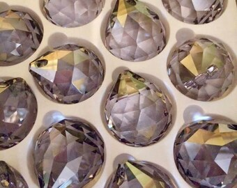 1 - 30mm SATIN Crystal Balls - Asfour SATIN Full Lead Crystal 30mm Faceted Chandelier Crystals Prisms Balls