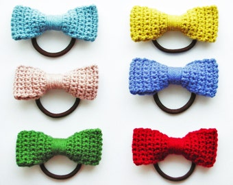 Crochet Bow Hair Tie Pattern Photo Tutorial Crochet Bow Pattern Crochet Pattern Crochet Accessories Pattern Crochet Bow Crochet Hair Tie