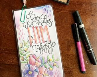 Midori Dashboard with Pocket Original Watercolor Art Print - Do What Makes HIM Happy