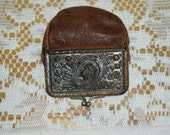 Vintage Leather and Metal Change Purse