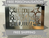 18th Birthday card, Silver Card, SHIPS FAST and FREE, Free Personalization