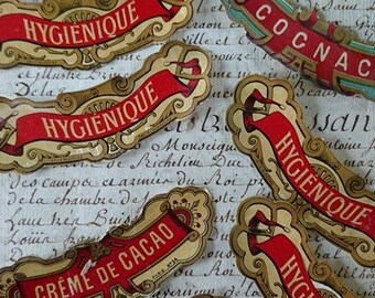 11 Gorgeous 19th century antique French gilded bottle labels  HYGIENIQUE Curacao  and Creme de Cacao Cognac  c1880 unused
