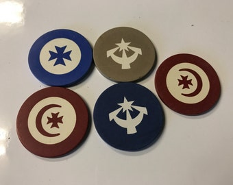 Set of 5 Early Poker Chips Symbols
