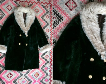 Vintage 1960's Faux Fur Coat British Invasion by Spear and Picardi Women's Medium Retro High Fashion Winter Coat Holidays