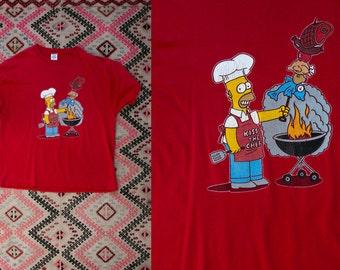 Vintage Simpsons Kiss The Chef Tee Shirt/ T Shirt Men's Size XL Extra Large Matt Groening Homer Grilling