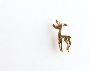 Vintage Rudolph Reindeer Tie Tack Lapel Pin Christmas Holiday