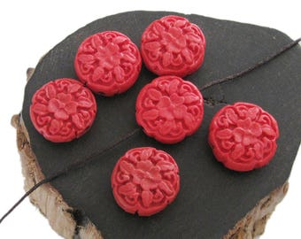 6Pcs Imitation Red Coral Flower Beads Finding 20mm*12mm  ja666