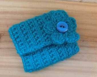 Hand Knitted Coin Purse, Turquoise Blue Coin purse