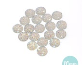 10mm Iridescent Rainbow Clear Faux Druzy Crystal Clusters Cabochons sfc0109