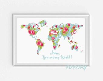 World Map Print, Travel Poster, Mother's Day gift, World Map poster, Grandma gift, Map wall Art, Travel Decor, World Map Decor, Bedroom art