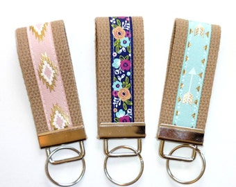 Key Fob Mini or Wristlet Keychain. Gold Aztec Pink. Navy Floral. Gold Arrow Mint
