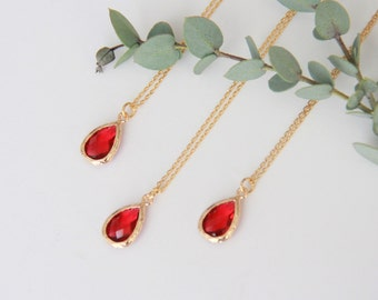 Red Necklace, Gift for Her, Jewelry, Bridesmaid Jewelry, Bridesmaid Gift, Necklace Gift for Mom, Jewelry Gifts Wife Gift