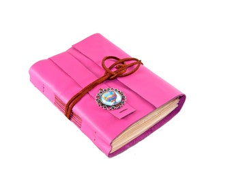 Deep Pink Leather Journal with Tea Stained Paper - Ballon Cameo - Ready to Ship -