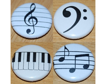 Music Set 25mm / 1 inch Holmes Piano - Bass Clef - Treble Clef - Notes