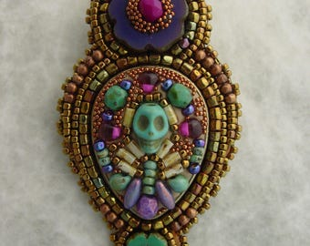 Day of the Dead Brooch Purple