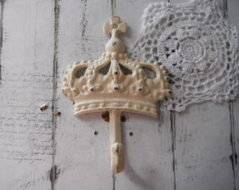 cream crown hook nursery decor dark antique white baby decor coat hook wall hook jewelry hook crown hook french country cast iron hook