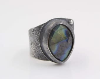Faceted Labradorite Hammered Sterling Silver Ring