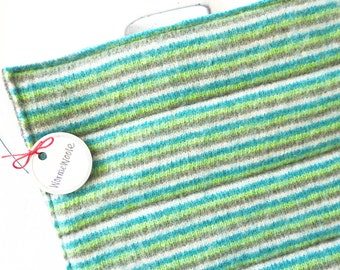 Wool Pot Holders Hot Pads GREEN STRIPED Potholders Eco-Friendly Recycled Wool Hotpads Housewarming Gift for Men or Women by WormeWoole