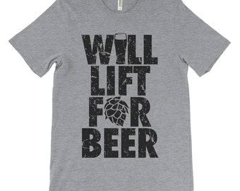 Funny Athlete Shirt, Workout Shirt, Will Lift For Beer, Beer Geek Gift, Crossfit Shirt, Athletic Tee, Beer Fest, Christmas Gift