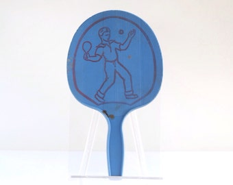 Vintage ping pong paddle, table tennis paddle, hard plastic, blue, with illustration of boy playing ping pong, mid century toy, 1950s, 1960s
